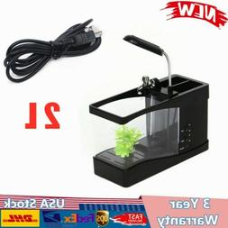 LED LIGHT FISH WATER TANK TABLE AQUARIUM USB DIGITAL CALENDA
