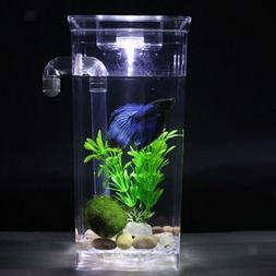 LED Small Fish Tank Pot Bubble Bowl Plant Fish Aquariums Tan