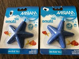 "Lot of 2 Marina 3.25"" Star Shaped Blue Air Stones Aquarium F"
