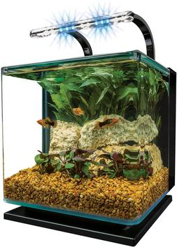 MarineLand Contour Glass Aquarium Kit with Rail Light, Sleek