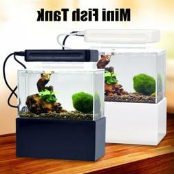 Mini Aquarium Fish Tank Fish Bowl With Filter LED Light Quie