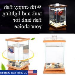 Mini Aquarium LED Lighting Clear Glass Fish Tank Container O