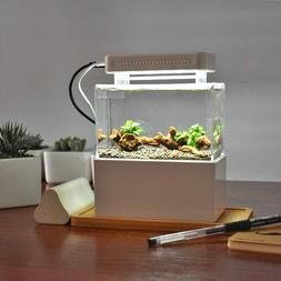 Mini Plastic Fish Tank Portable Desktop Aquaponic Aquarium B