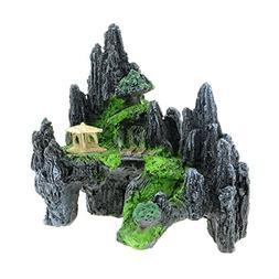 Saim Mountain View Aquarium Ornament Tree House Cave Bridge