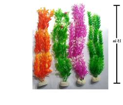 """15"""" ARTIFICIAL PLASTIC DECORATION AQUARIUM PLANT FOR FISH T"""
