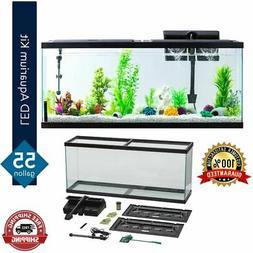Pet Fish Tank 55 Gallon Glass Aquarium Starter Kit LED Light
