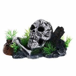 Pirate Skull Ornament Hiding Cave Aquarium Decoration Fish T