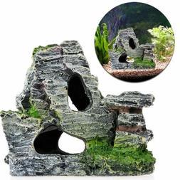 Resin Aquarium Fish Tank Ornament Rockery Hiding Cave Landsc