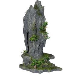 Rock Peak With Plant Fish Tank Aquarium Ornament, Polyresin,