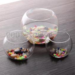 Round Clear Glass Vase Fish Tank Ball Bowl Flower Planter Te