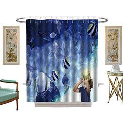 luvoluxhome Shower Curtain Customized Child with vr Glasses