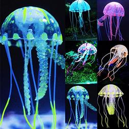 6 Pcs Silicone Glowing Artificial Floating Jellyfish Decor A