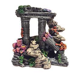 Evergreen Simulation Resin Roman Column Aquarium Decorations