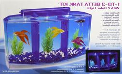 Split Betta Fish Aquarium Triple Divider Tank with Filter &