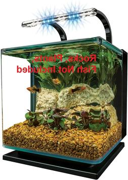 Contoured 3 Gallon Aquarium Fish Tank Starter Kit W/LED Rail
