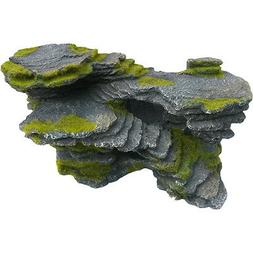 Stepped Slate Rock Ledge with Moss for Aquariums and Fish Ta