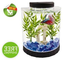 Tetra Betta Fish Tank 1.5-Gal LED Clear Plastic Half Moon Be