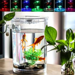 US Creative Ecology Mini  LED Fish Tank Luminous Glass Tank