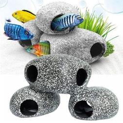 US Fish Tank Aquarium Ornament Ceramic Shrimp Betta House Ro