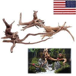 US HOT Fish Tank Driftwood Natural Wood Tree Trunk Plant Aqu