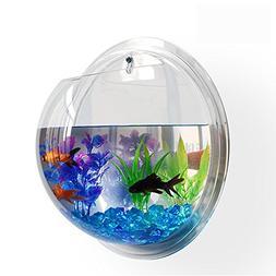 NEW! WALL MOUNTED FISH TANK - BETTA BUBBLE AQUARIUM - WITH P