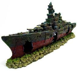 Warship Cave Aquarium Ornament L 49cm - NAVY Battleship ship