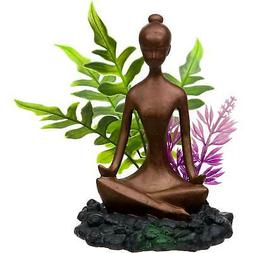 Blue Ribbon Zen Girl with Plants Aquarium Ornament